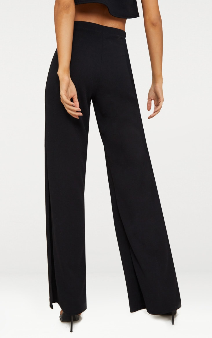 Black Split Detail Wide Leg Trousers 4