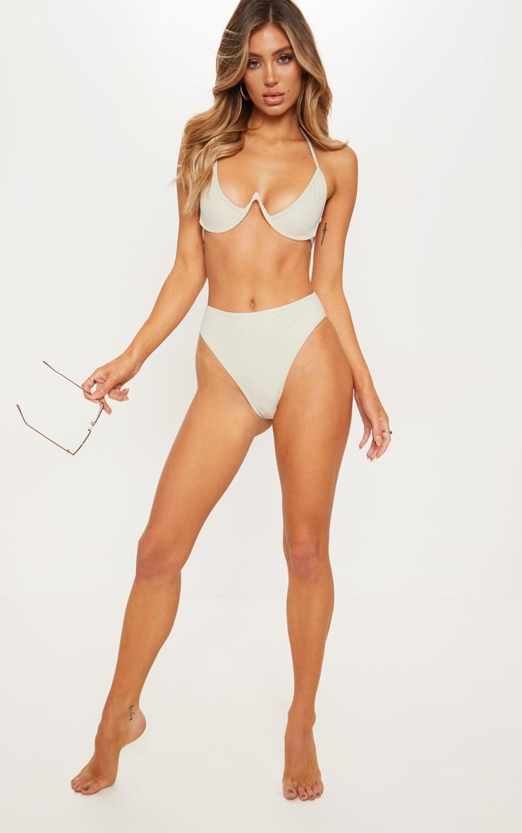 Sage Green High Waisted Cheeky Bum Bikini Bottom 1