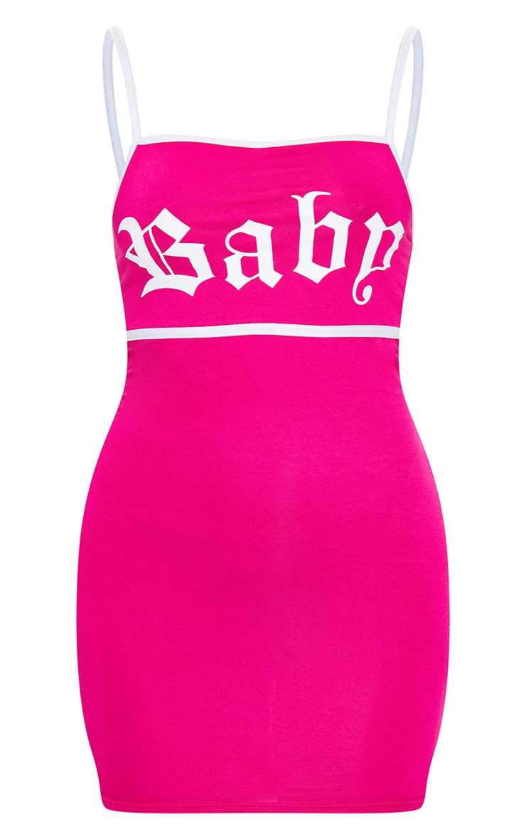 Hot Pink Baby Slogan Print Contrast Strappy Jersey Bodycon Dress 5