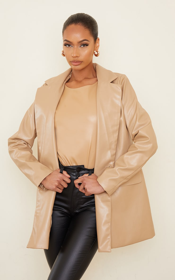 Sand PU Oversized Double Breasted Covered Button Blazer 1