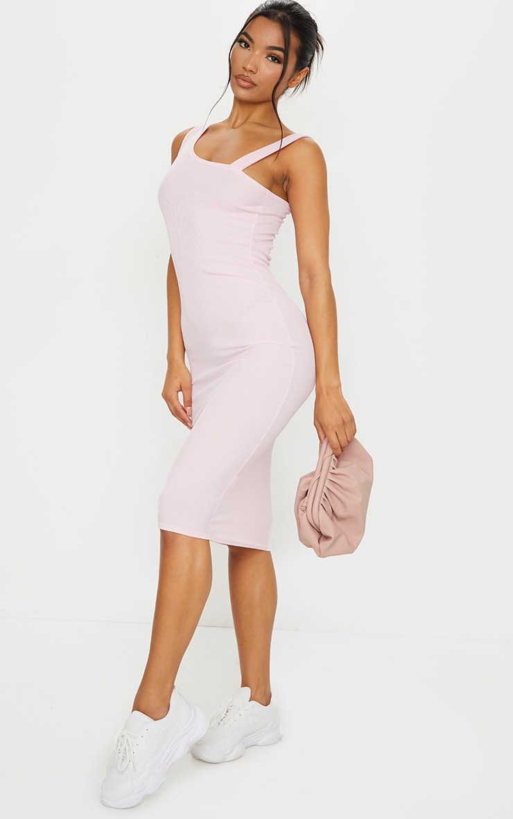 Baby Pink Ribbed Asymmetric Neck Midi Sleeveless Dress 3
