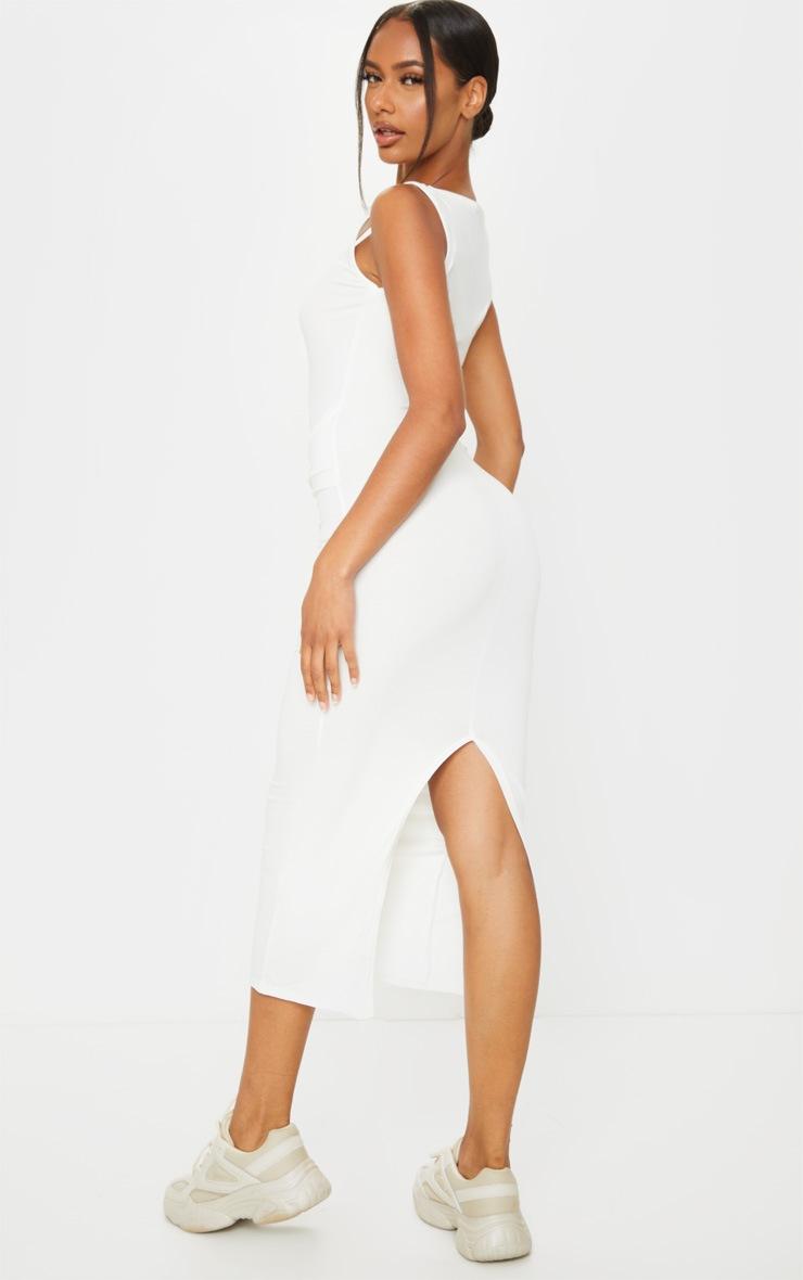 Cream Cotton Sleeveless Twist Waist Midi Dress 2