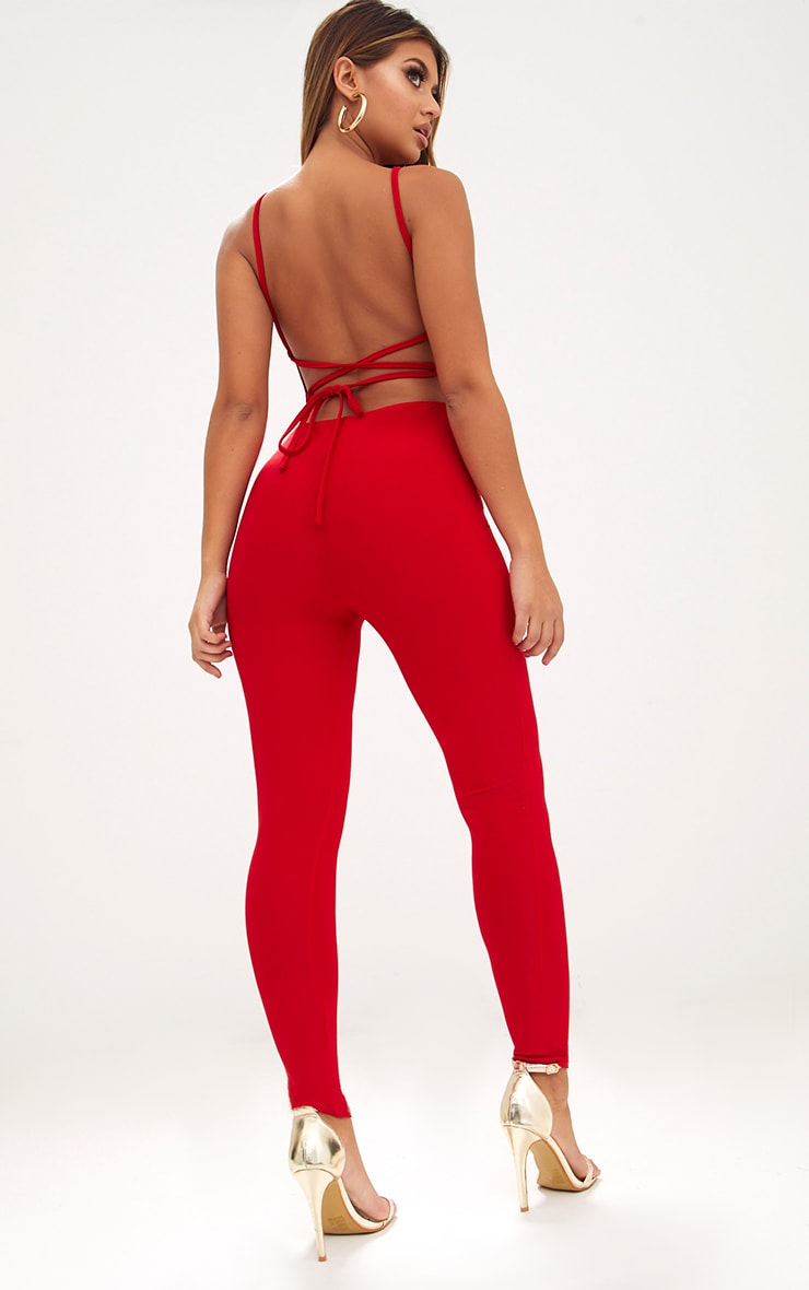 Red Strappy Back Jumpsuit  1