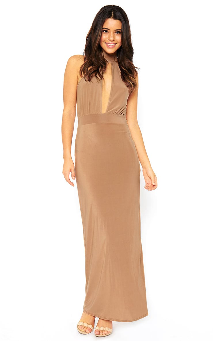 Desiree Camel Slit Front Maxi Dress 1