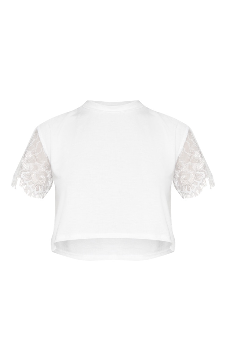 White Eyelash Lace Sleeve Crop T Shirt 3