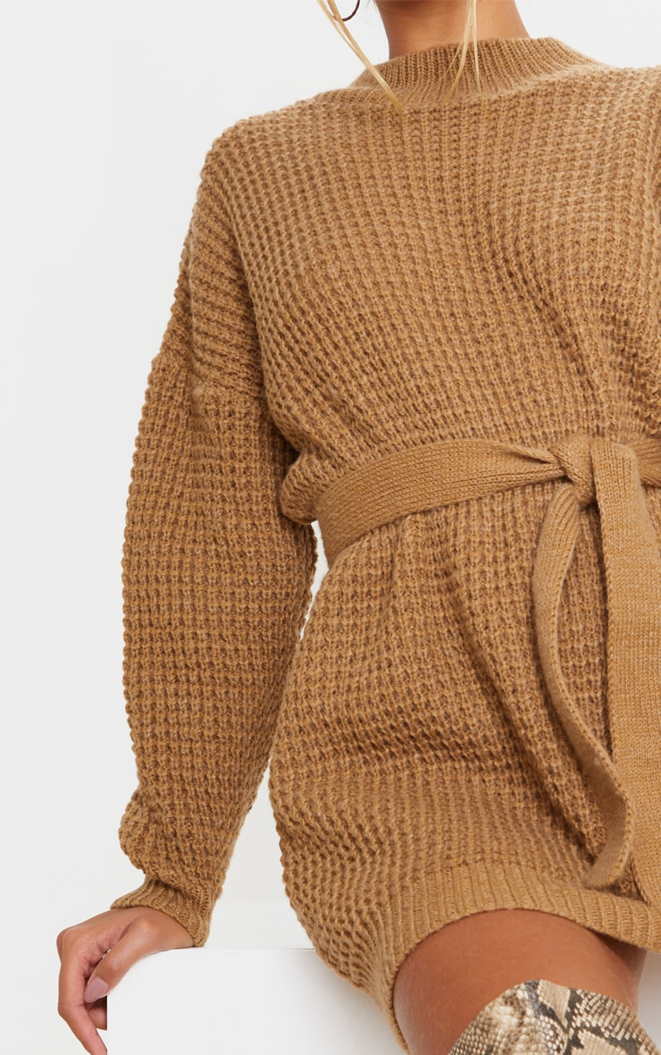 Camel Soft Touch Belted Knitted Sweater Dress 4