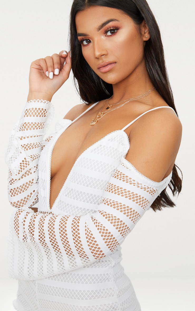 White Knitted Cold Shoulder Romper 5