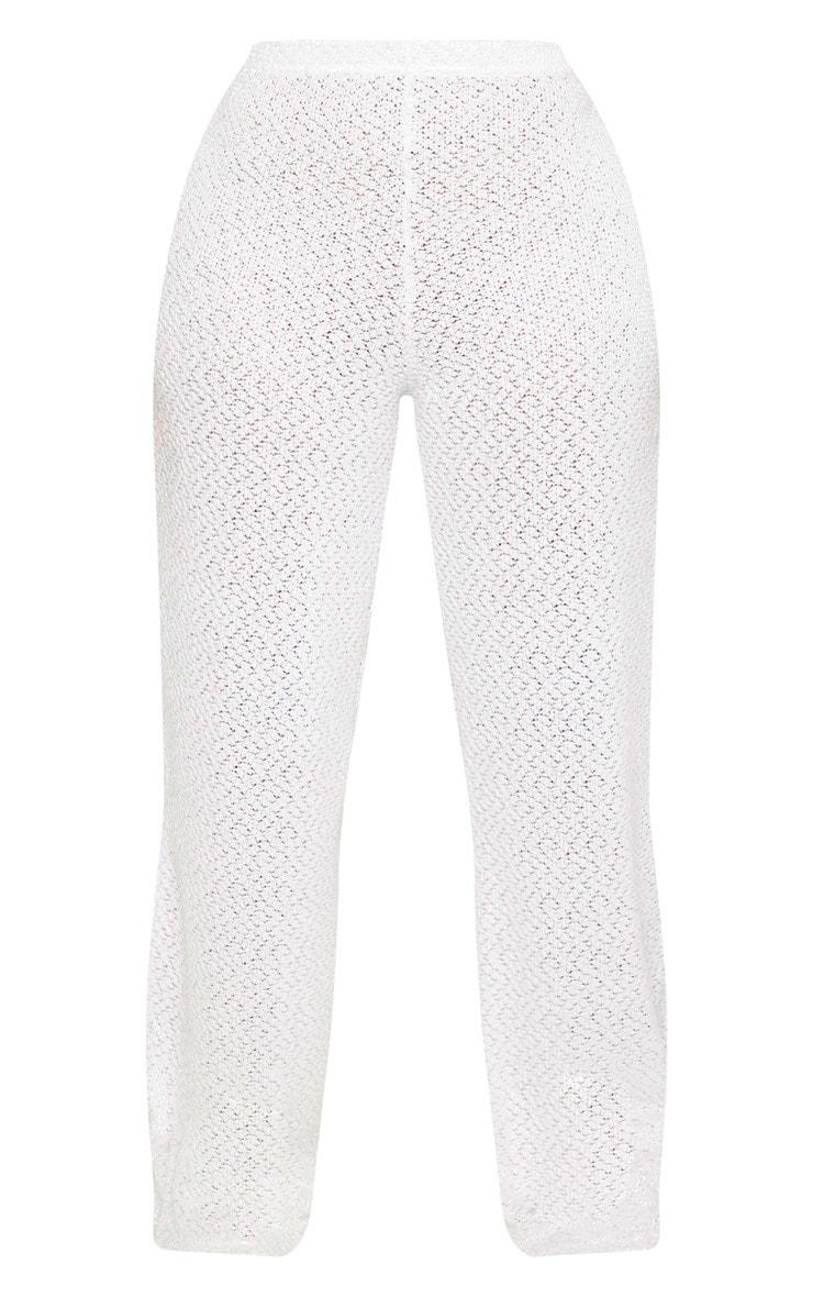 Shape Cream Textured Rib Wide Leg Pants 3