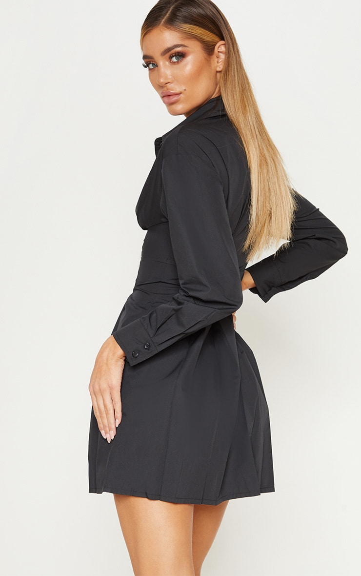 Black Pleated Waist Detail Shirt Dress 3