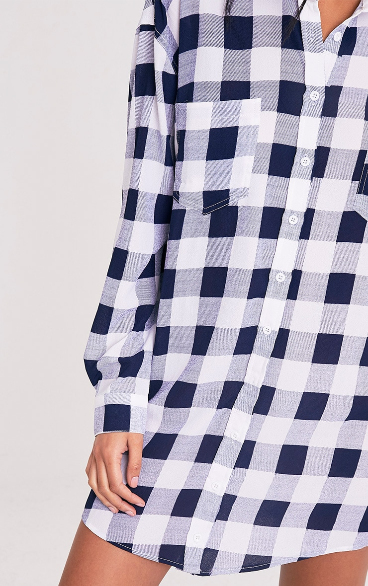 Perrie Blue Oversized Checked Shirt Dress 6