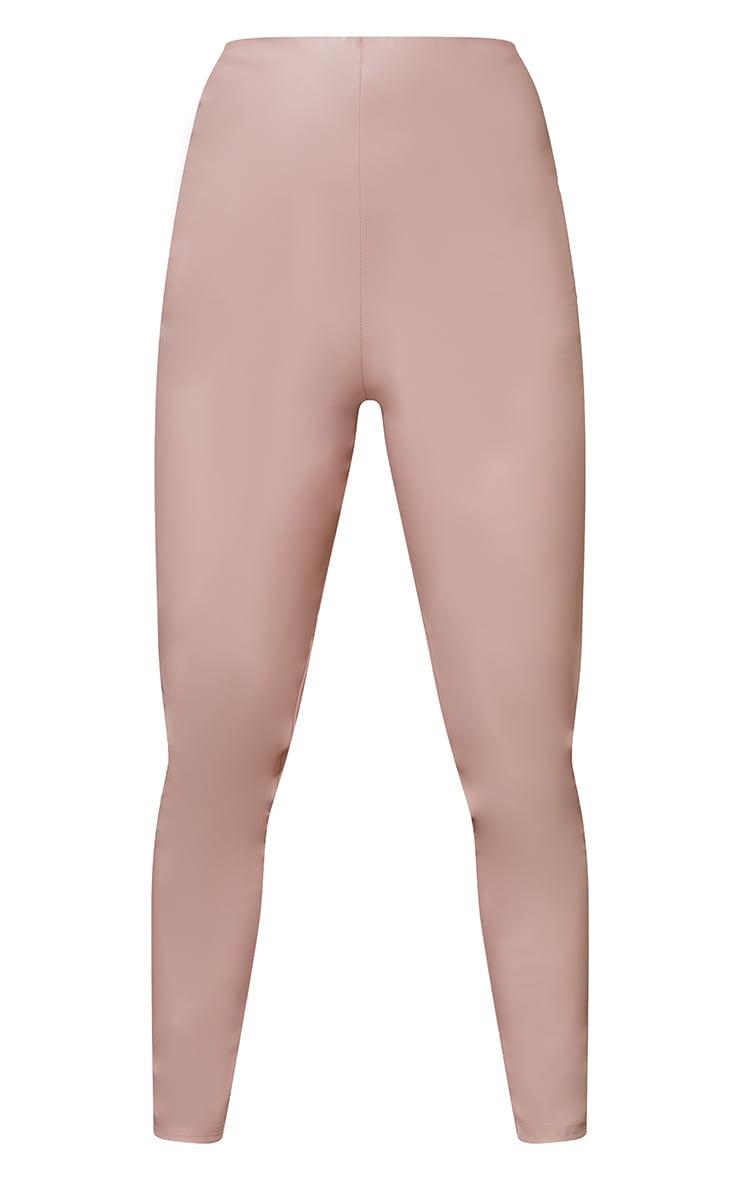 Petite Pink Basic Faux Leather High Waist Leggings 5