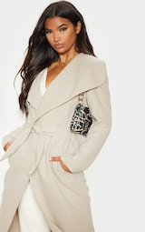 Stone Maxi Length Oversized Waterfall Belted Coat 5