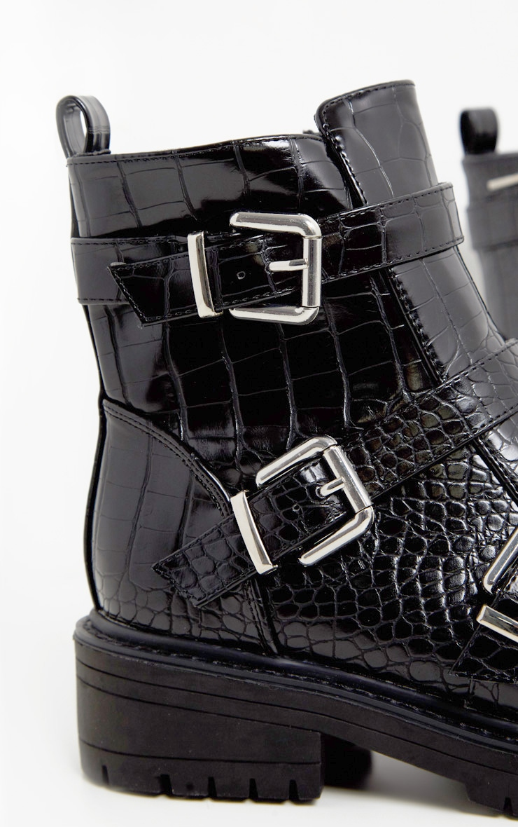 Black Triple Strap Buckle Biker Boot 4