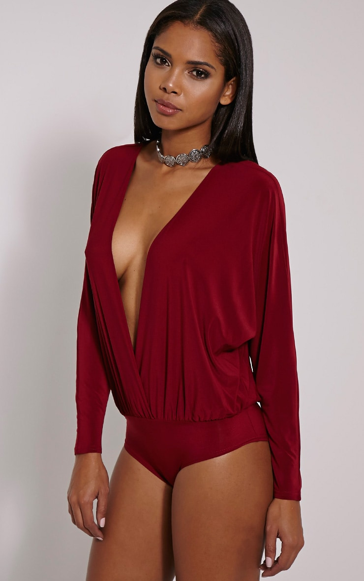 Adelle Burgundy Long Sleeve Deep Plunge Bodysuit 4