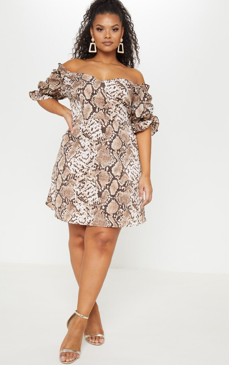 Plus Taupe Snake Print Puff Sleeve Shift Dress 4