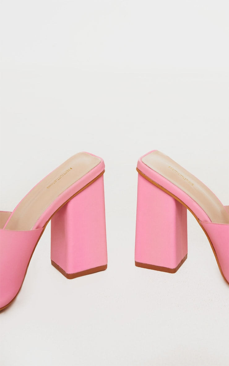 Pink Extreme Reflective Block Heel Mule 4