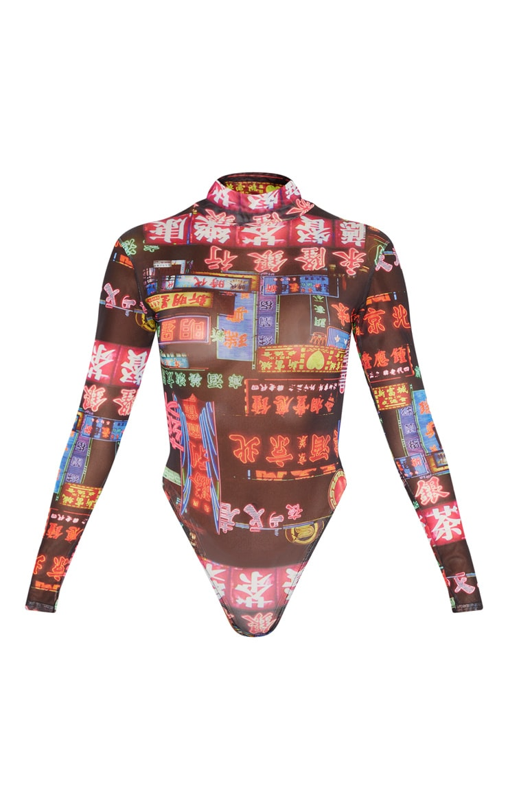 Multi Neon Lights Printed Mesh High Neck Long Sleeve Bodysuit 3