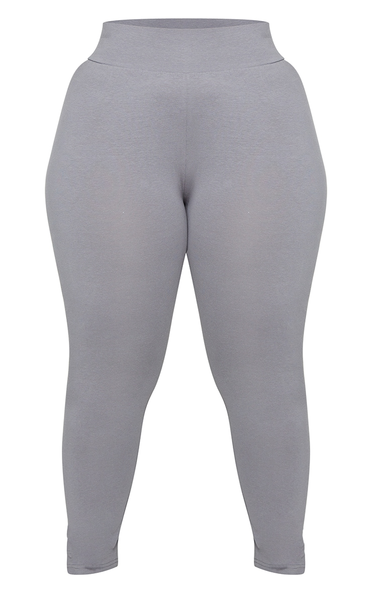 Basic Plus Charcoal Cotton Blend High Waisted Jersey Leggings 5