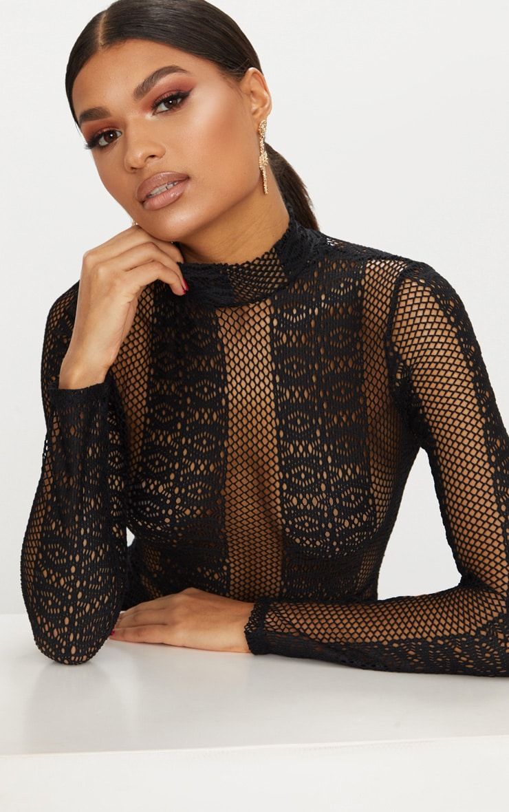 Black Lace Sheer Maxi Dress 5