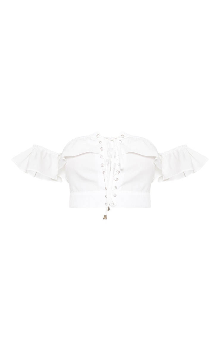 White Frill Lace Up Bardot Crop Top 3