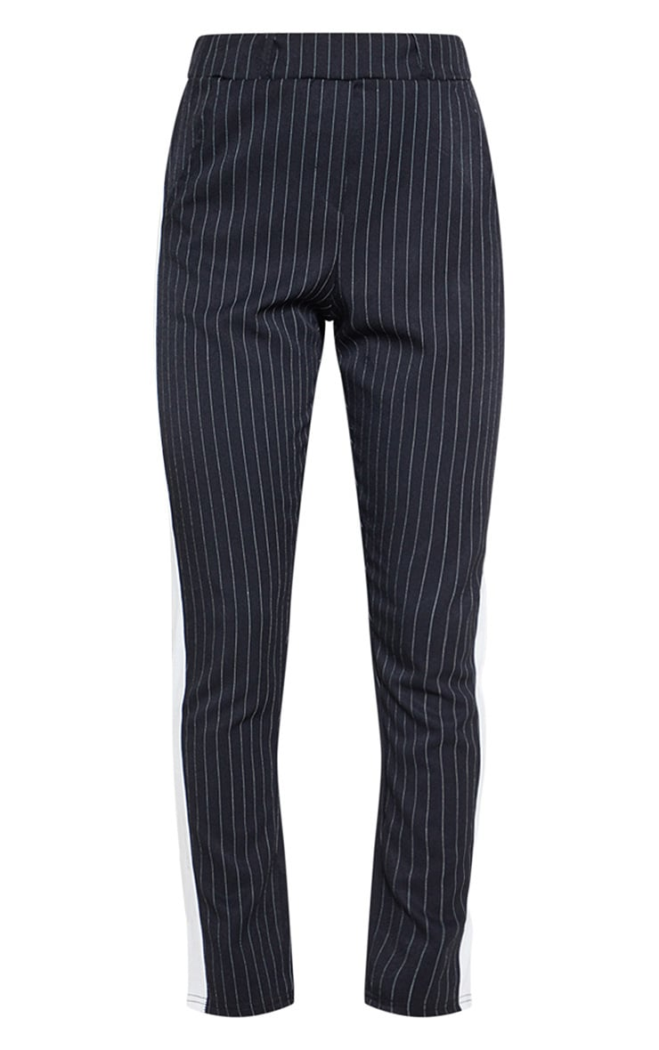Black Pinstripe Formal Side Stripe Trouser 3