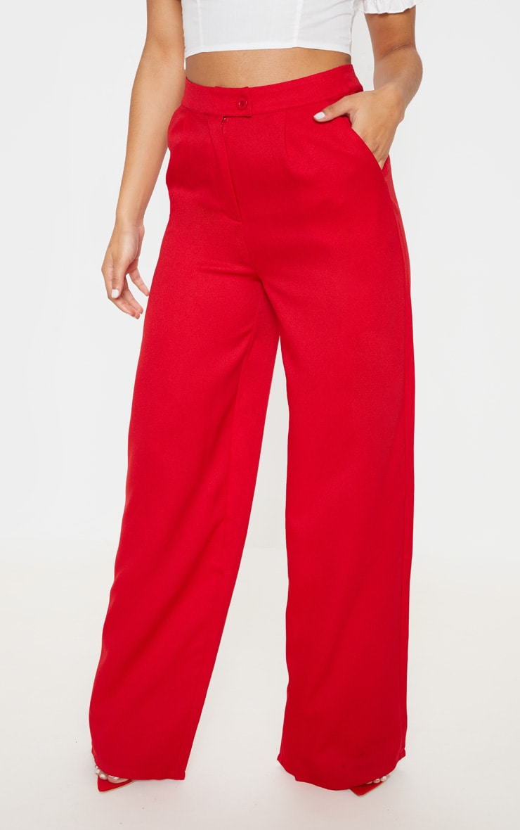 Red Formal Button Wide Leg Pants 2