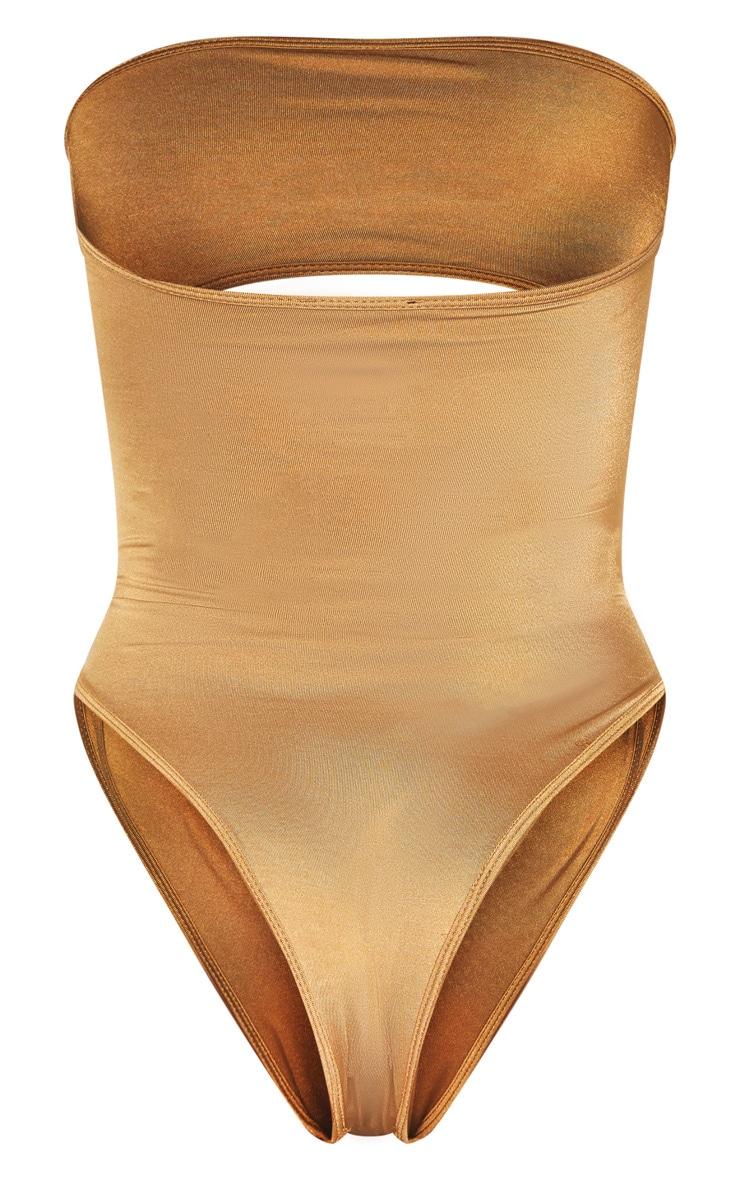 Mocha Strapless Gold Diamante Waist Swimsuit 6