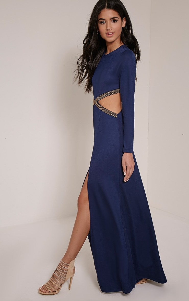 Tania Navy Cut Out Gold Trim Maxi Dress 1