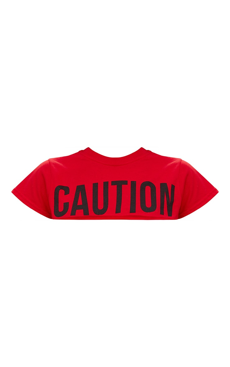Red CAUTION Slogan Extreme Crop T Shirt 3