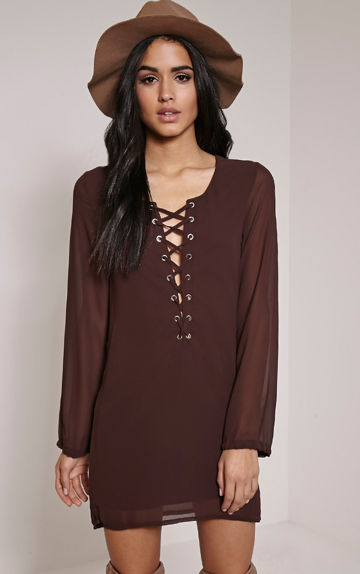 Pammy Chocolate Brown Lace Up Shift Dress 1