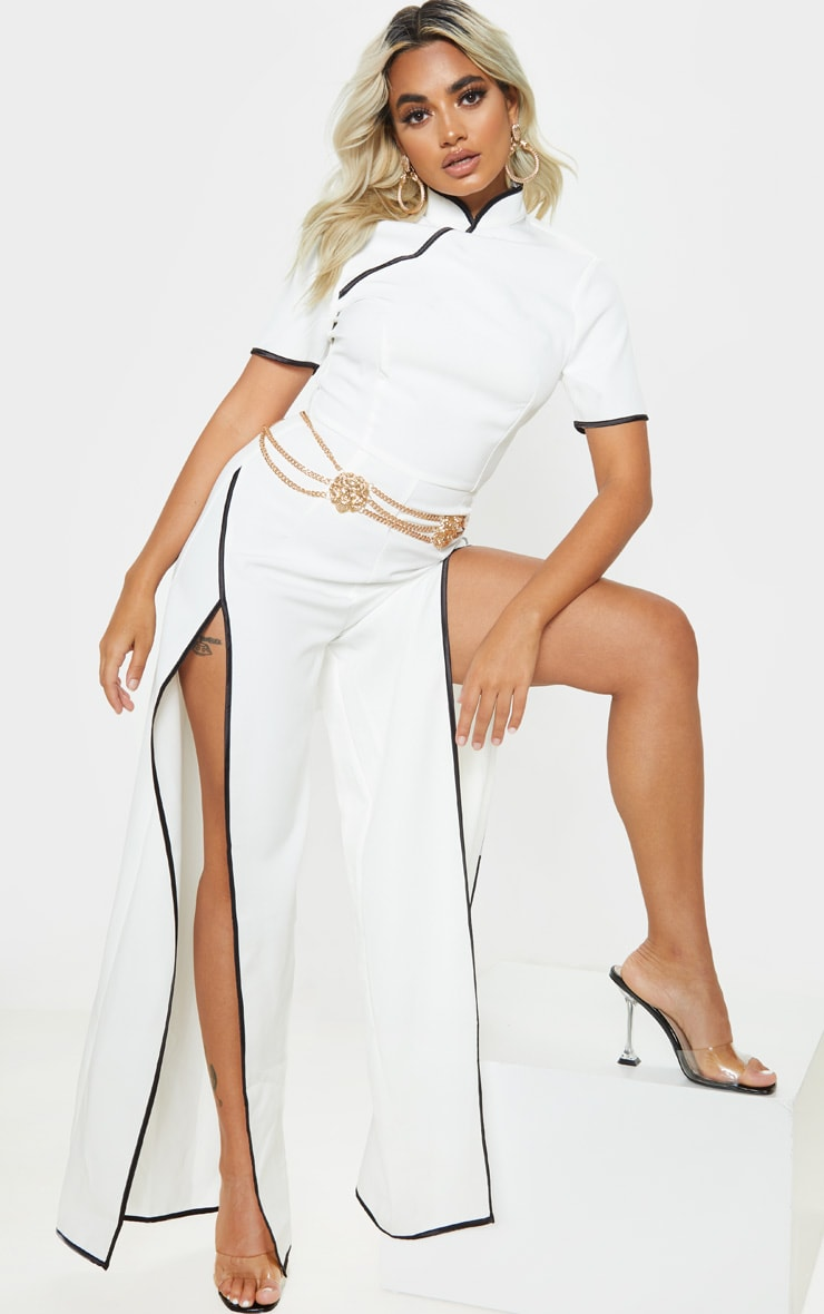 Petite Cream Thigh Split Jumpsuit 1