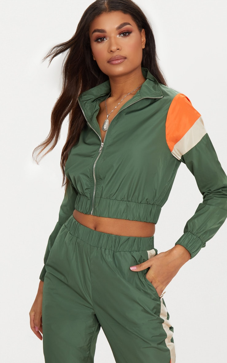 Khaki Stripe Shell Suit Tracksuit Top 1