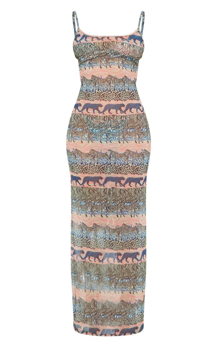Blue Zebra Safari Mesh Maxi Beach Dress 3