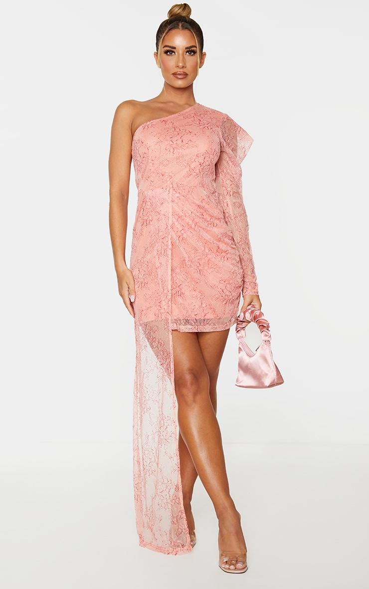 Pink Lace One Shoulder Drape Bodycon Dress 1