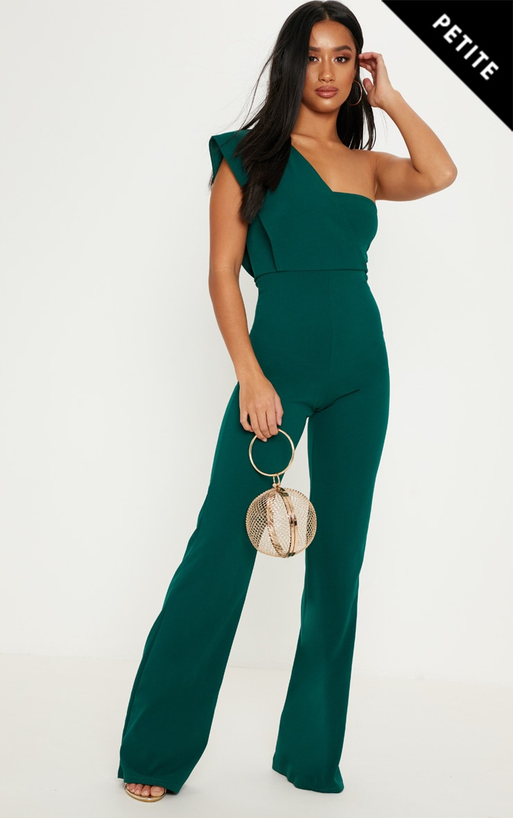 65b060917a7 Petite Emerald Green Drape One Shoulder Jumpsuit image 1