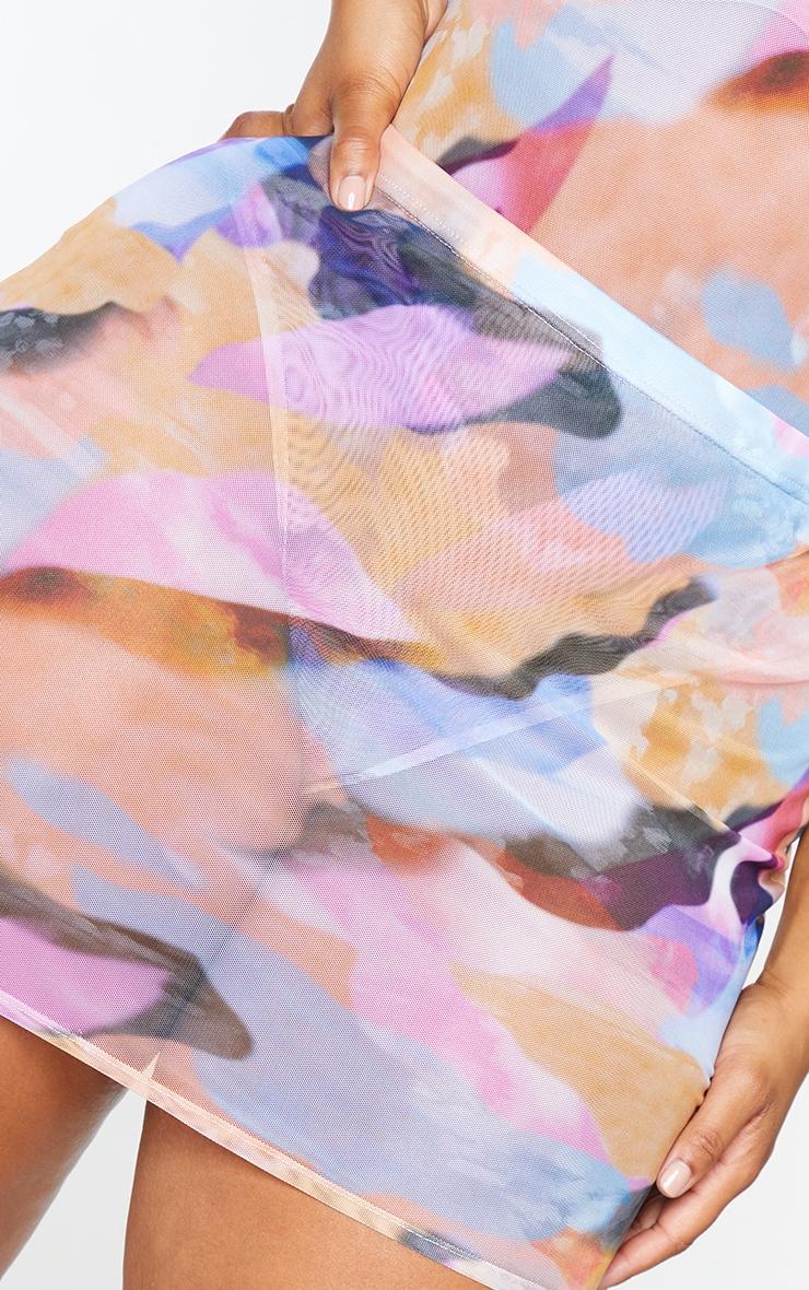 Plus Peach Watercolour Print Mesh Mini Skirt 5