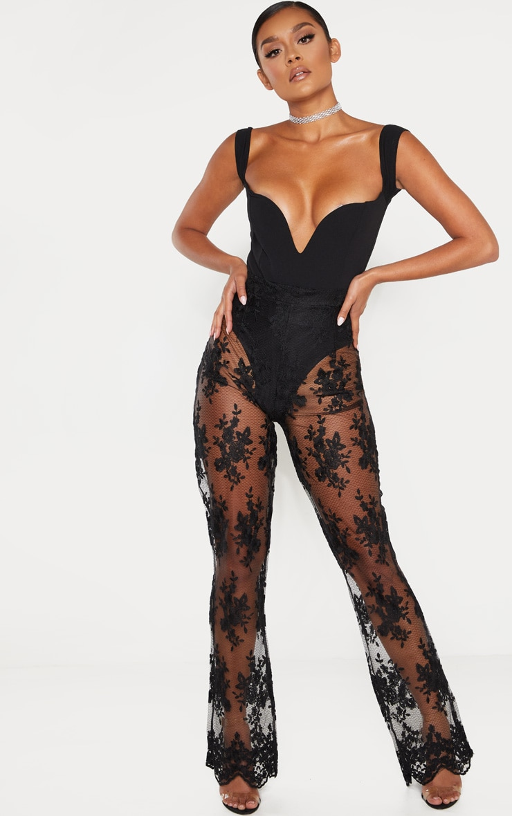 Black V Bar Bardot Bodysuit 5