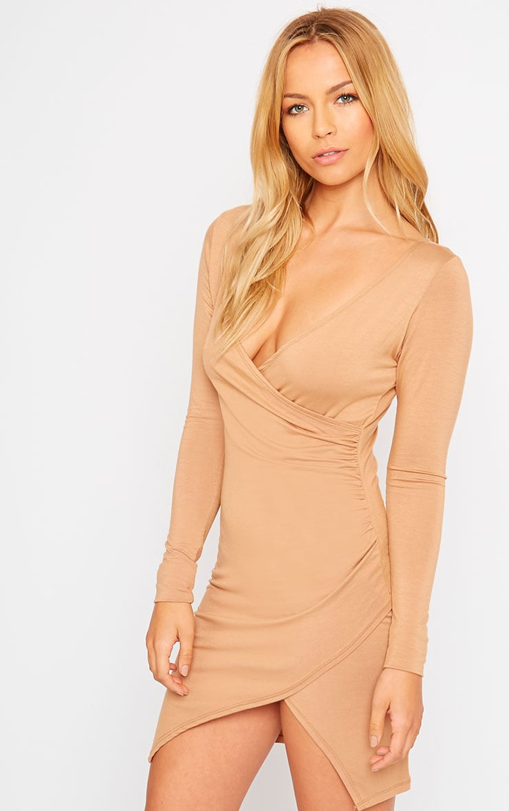 Kendi Camel Wrap Mini Dress 5