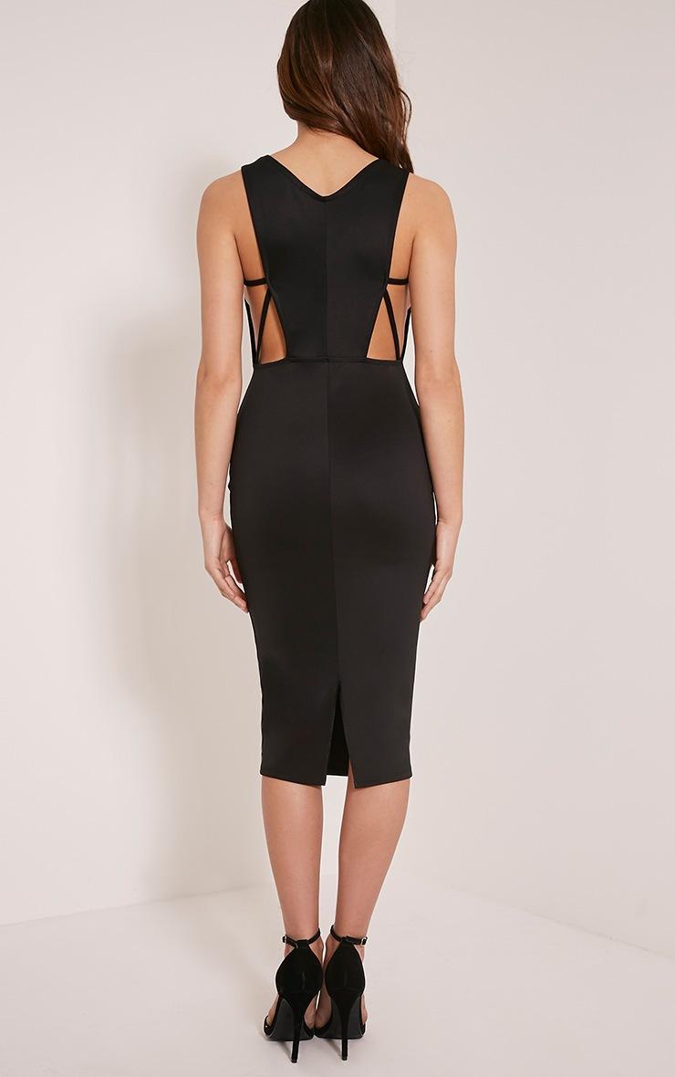 Rima Black Strappy Cut Out Midi Dress 2