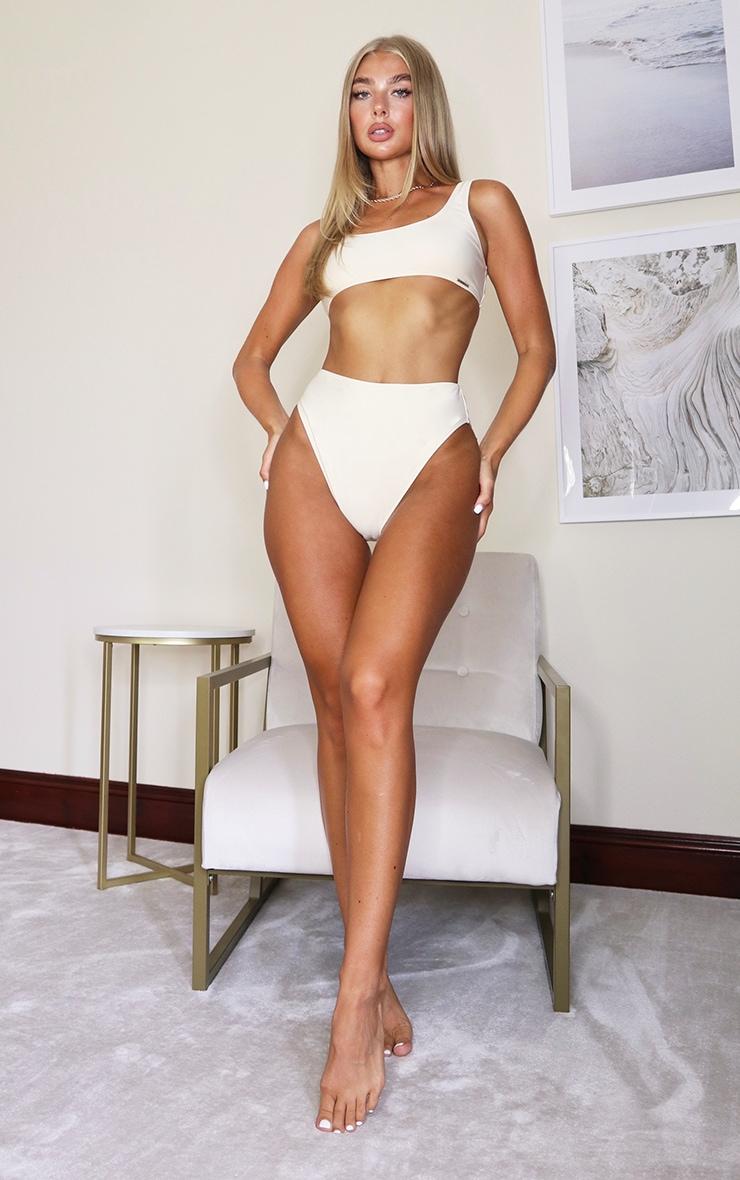 Cream Mix & Match High Waisted High Leg Bikini Bottoms 4