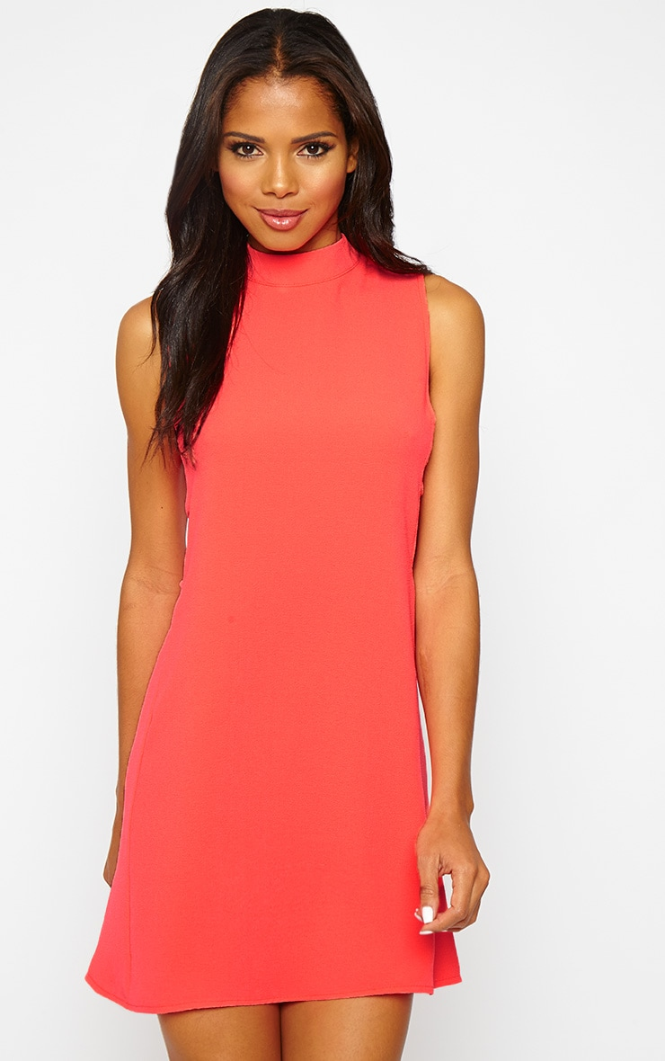 Rina Neon Pink Cut Out Tabard Dress 4