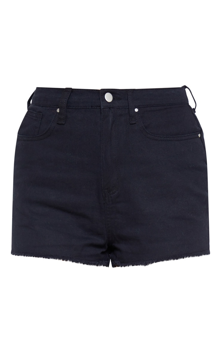 Shelby High Waisted Black Denim Short 4