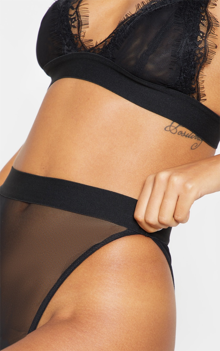 Black Mesh Brazilian Panties 6