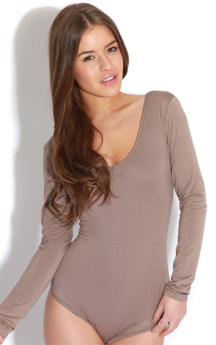 Maryana Mocha Long Sleeve Bodysuit  5