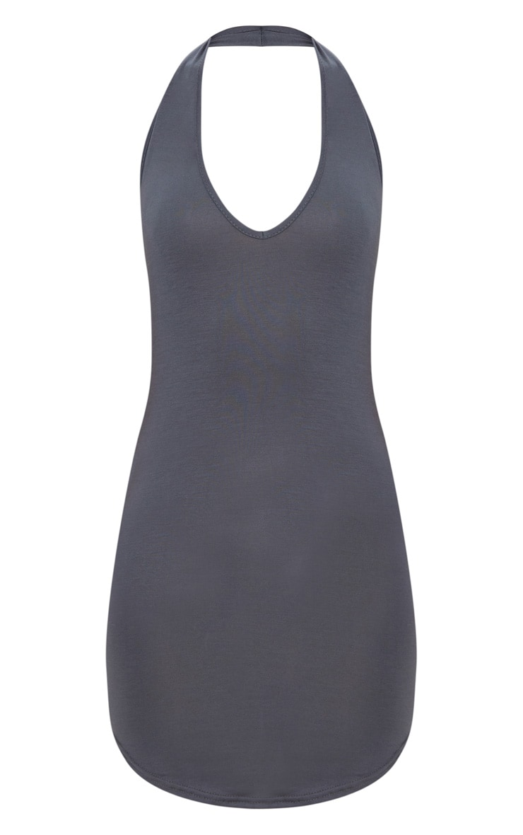 Basic Charcoal Grey Halterneck Bodycon Dress 3