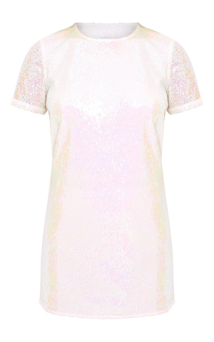 Tanaya White Short Sleeve Sequin T-Shirt Dress 3