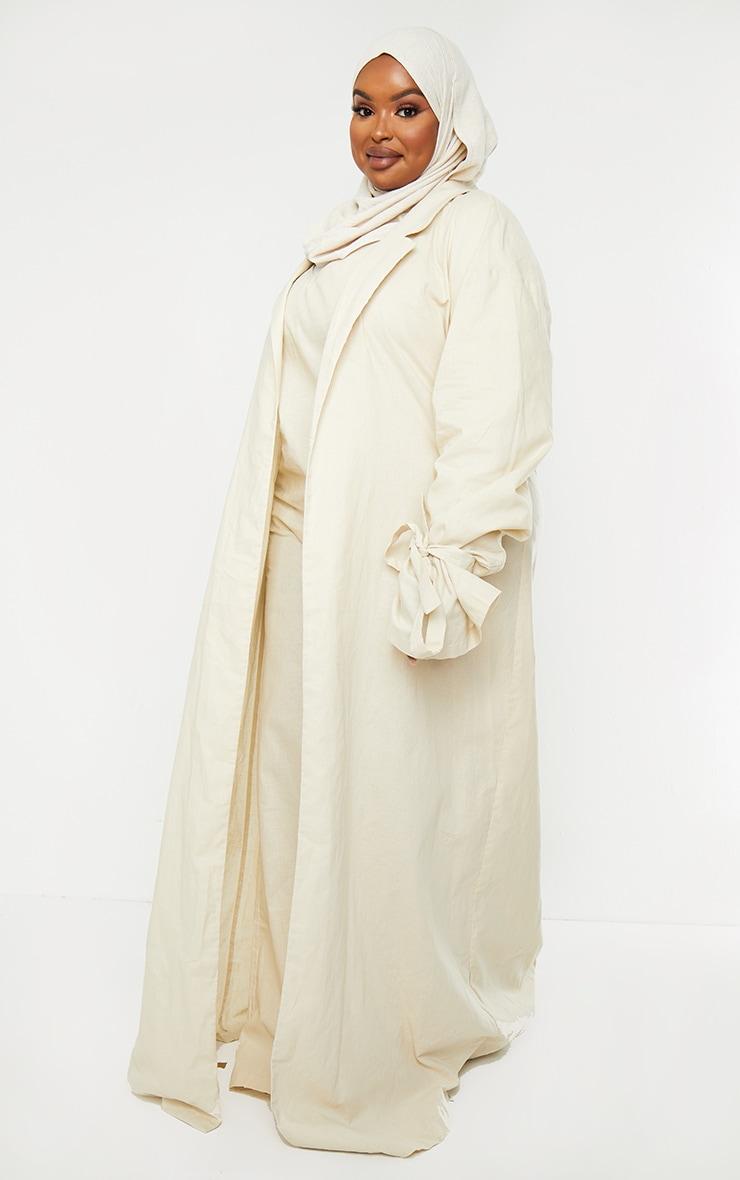 Plus Cream Woven Tie Cuff Duster Coat 3