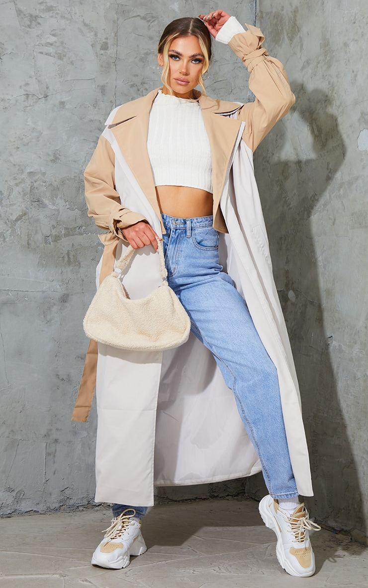 Stone Double Layer Lapel Midi Belted Trench 1