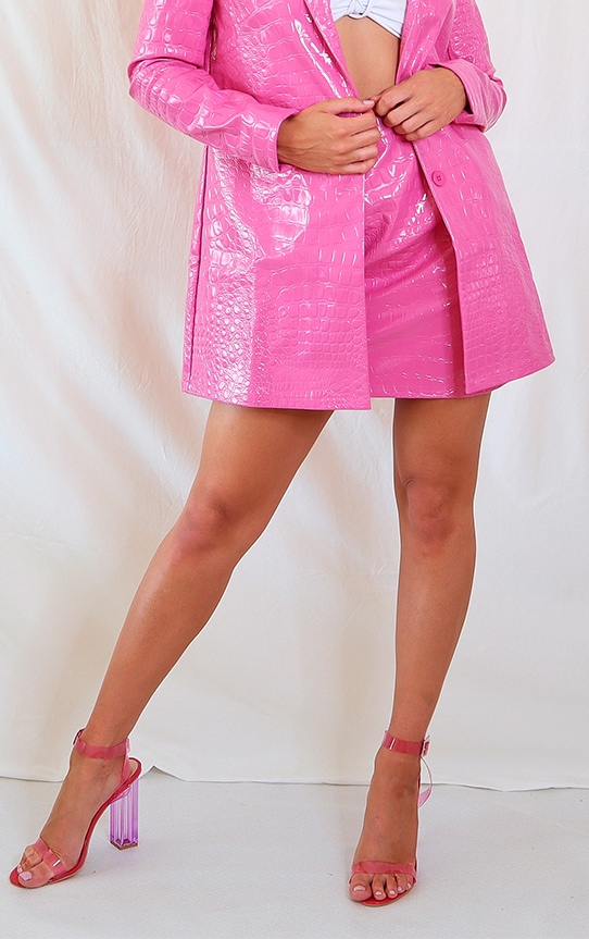 Hot Pink Croc Print Vinyl Mini Skirt 2