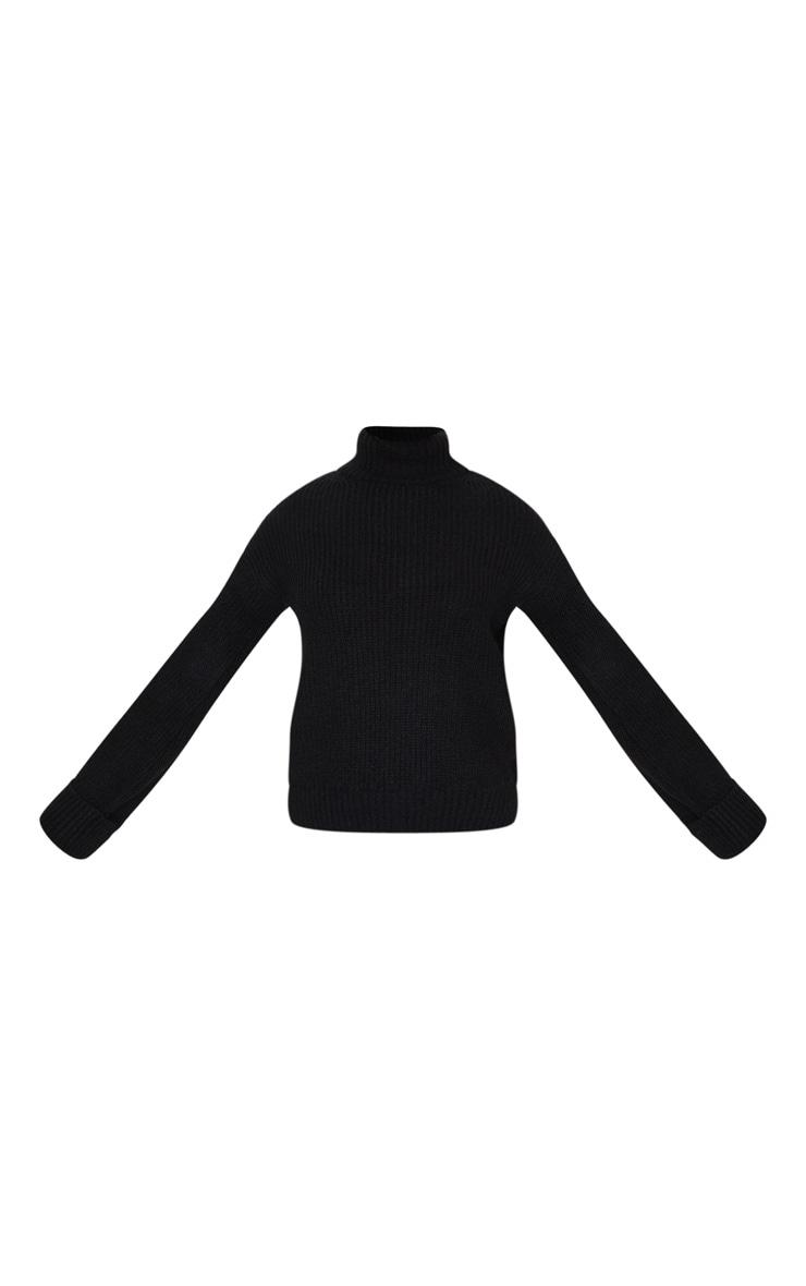 Black Fluffy Knit Deep Cuff Jumper 5